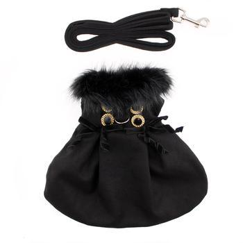 Wool Fur-Trimmed Dog Coat - Black - Coco and Chili's Shop