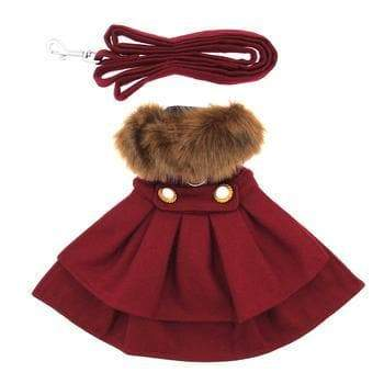 Wool Fur-Trimmed Dog Coat - Burgundy - Coco and Chili's Shop