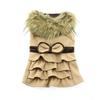 Wool Fur-Trimmed Dog Coat - Camel - Coco and Chili's Shop