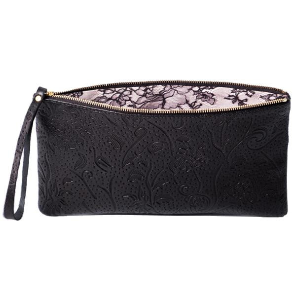 Floral Black Leather Lace Print Lined Clutch | Lily Gardner