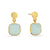 Gold Aqua Chalcedony Cushion Drop Earrings | Lily Gardner
