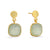 Gold Prehnite Stone Cushion Drop Earrings | Lily Gardner