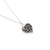 Black lace in silver small heart pendant necklace on chain | Lily Gardner London