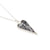 Long  modern shape Black lace in silver pendant with silver chain | Lily Gardner London