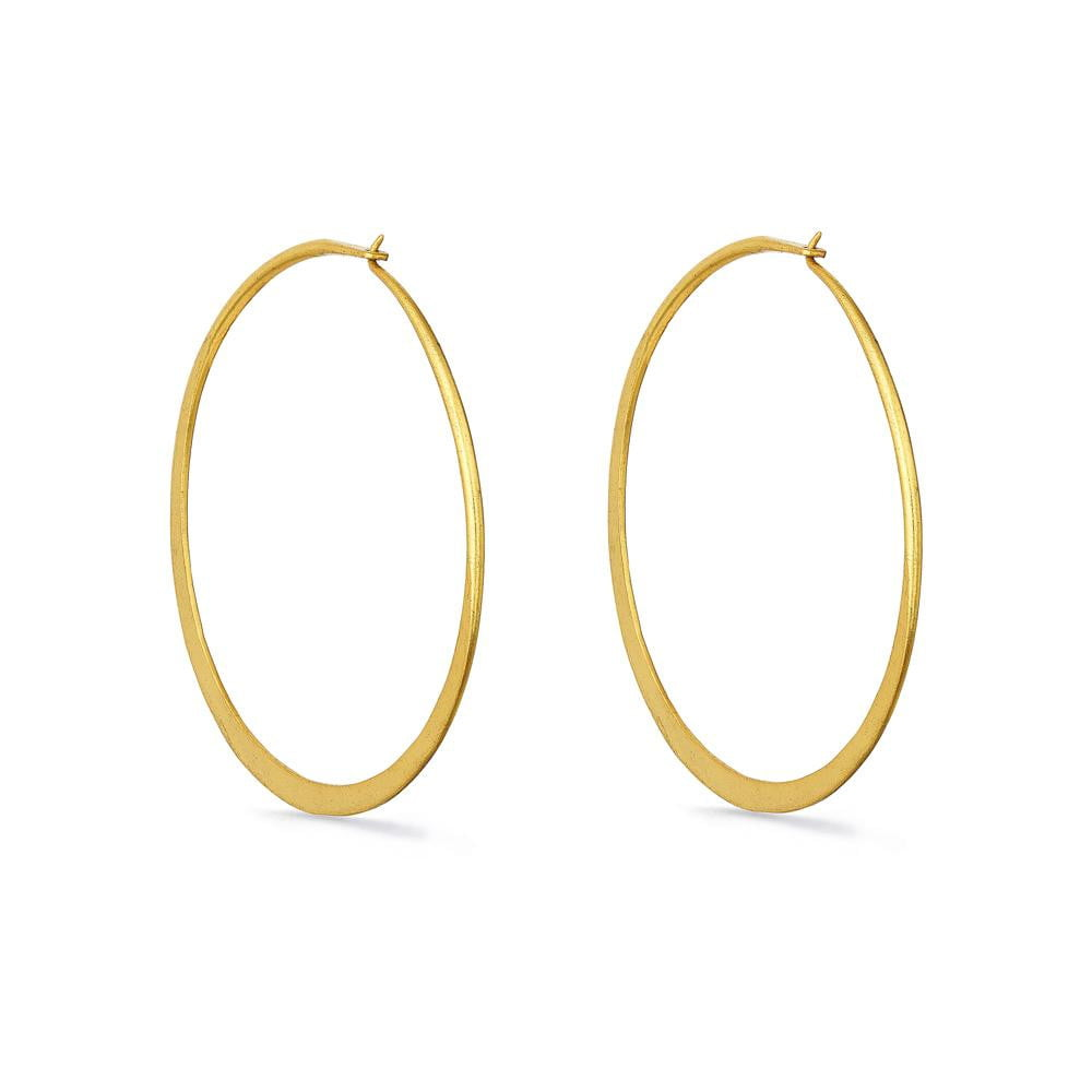 Large Matt Gold Hoop Earrings | Lily Gardner
