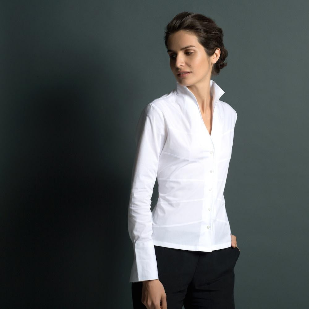 Collarless Fitted Classic White Cotton Shirt – 'Audrey' | Lily Gardner