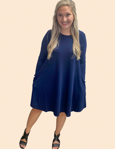 Looking Back Dress - Navy