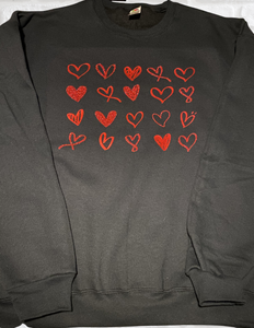 Multiple Glitter and Metallic Heart Shirt