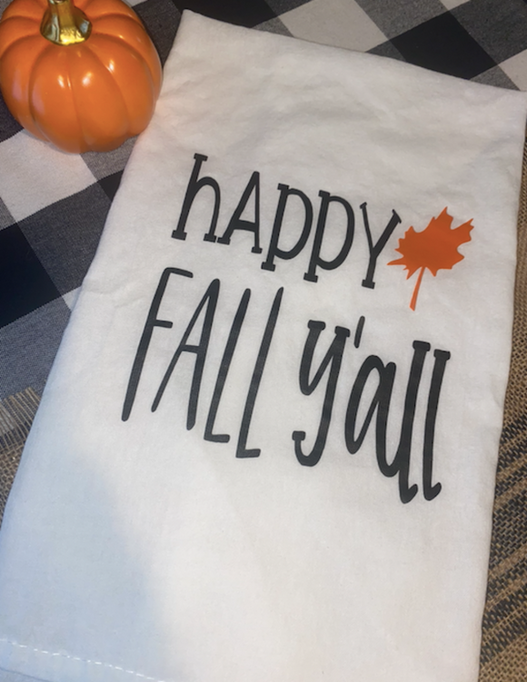 Happy Fall Y'all (with leaf) Dish Towel