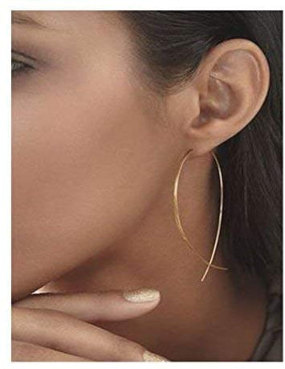 Fish Tail Wire Earrings - Gold