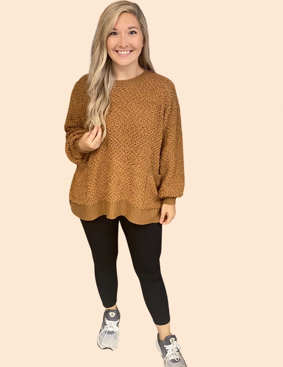 Get Cozy and Comfy Sweater - Deep Camel