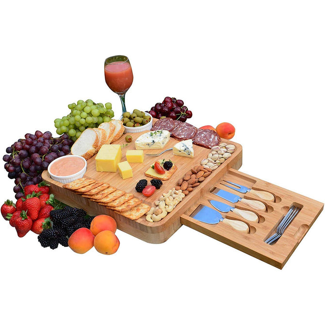 MEHF-MART Natural Bamboo Cheese Board Set