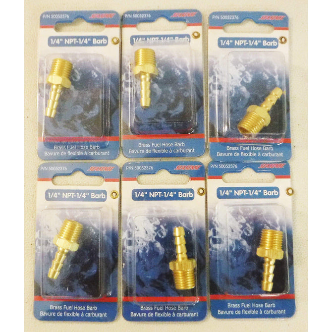 SeaSense 50052376 Fuel Hose Barb, Male 1/4-Inch NPT Lot of 6  *