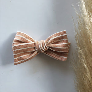 Peach stripe Pixie bow