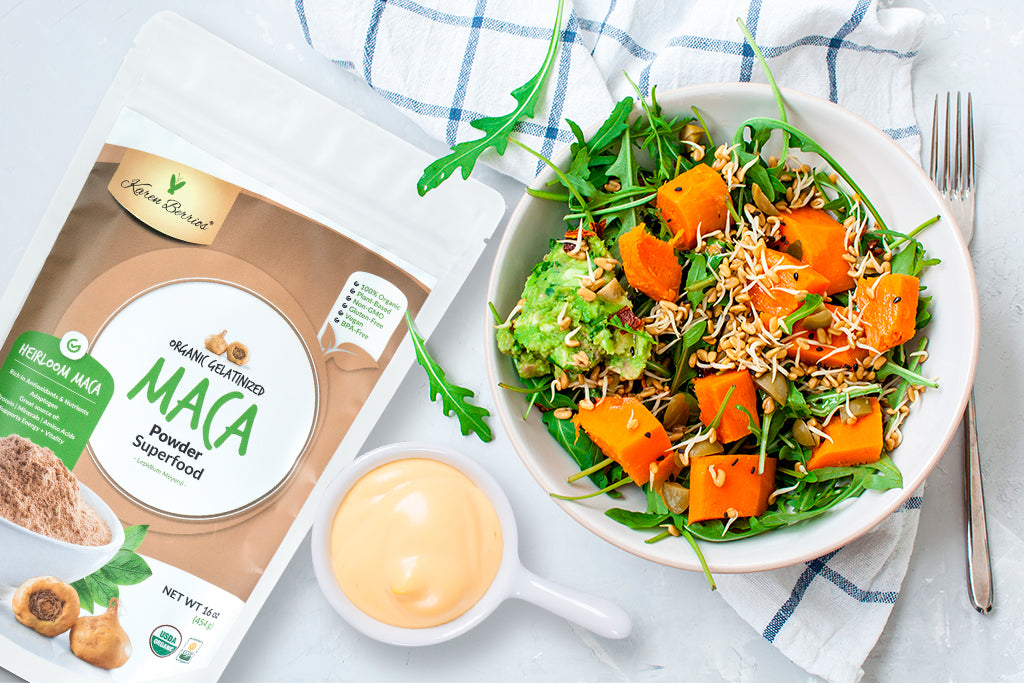 CHRISTMAS SALAD WITH MACA DRESSING