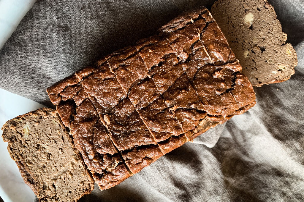 NIKKI'S CHOCOLATE PEANUT BUTTER COLD BREW BANANA BREAD