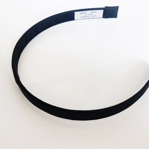 Gros-grain Thin Black Headband at Born In The Sun - Borninthesun