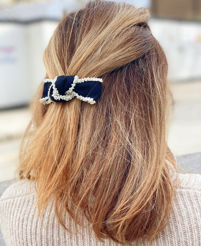 Black Grosgrain Bow with Cream beading edge Hair Tie at Born In The Sun - Borninthesun