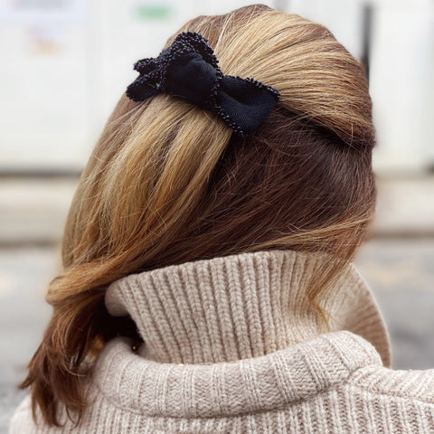 Black Grosgrain Bow with Hair Clip Fastener at Born In The Sun - Borninthesun