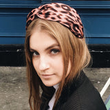 Silk Pink Leopard Classic Signature Shape Headband at Born in The Sun - Borninthesun