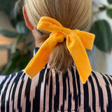 Velvet yellow Marigold Bow Collaboration between A Ross Girl x Born In The Sun - Borninthesun