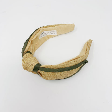 Raffia Straw Knotted with Military Grosgrain ribbon Headband at Born In The Sun