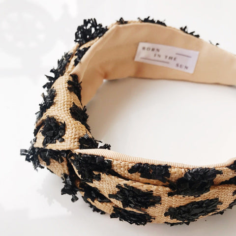 Raffia Beige and Black Straw Pom Poms Headband