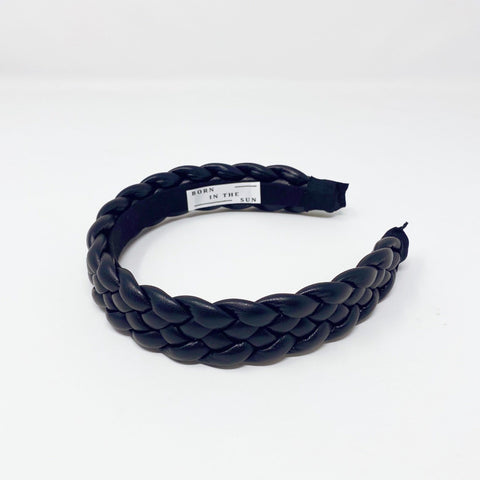 Black Platted  Leather Headband at Born In The Sun - Borninthesun