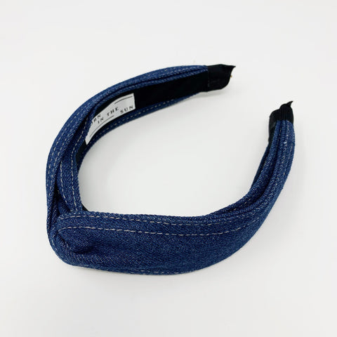 Denim dark blue knotted headband - Borninthesun