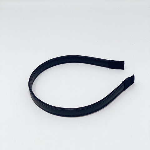 Black Thin Faux Leather Headband at Born In The Sun - Borninthesun