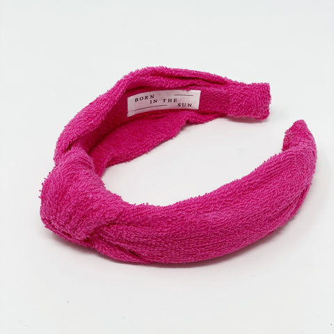 Terry Towelling Magenta Headband at Born In The Sun - Borninthesun