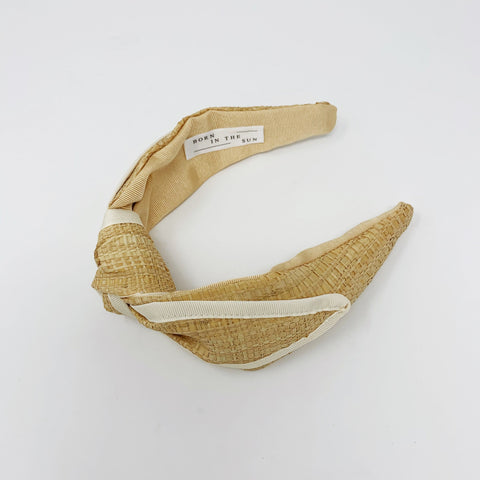 Raffia Straw Knotted with Beige Grosgrain ribbon Headband at Born In The Sun