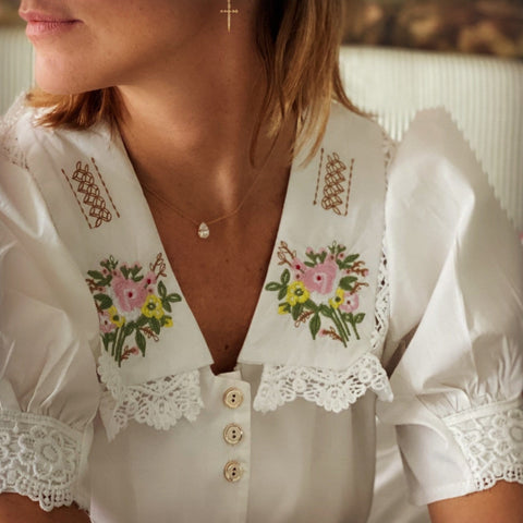 White Romantic embroidered shirt - Borninthesun