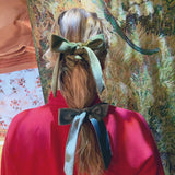 Velvet Green Bow Collaboration between A Ross Girl x Julien Farel at Born In The Sun - Borninthesun