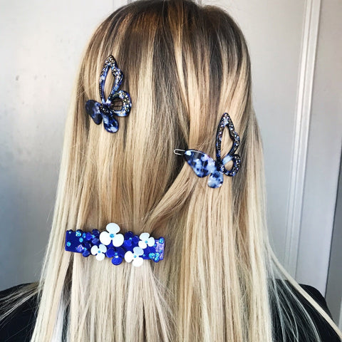 Butterfly Blue Tortoiseshell with Diamante Sparkle Hair Clip at Born In The Sun - Borninthesun