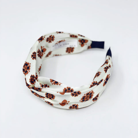 Cream and Moka Floral Silk Headband at Born In The Sun - Borninthesun