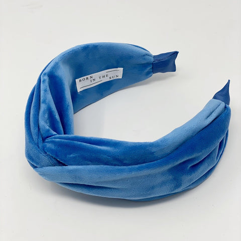 Blue Velvet Classic Light blue Signature Shape Headband at Born In The Sun - Borninthesun