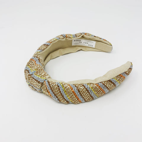 Woven knotted blue stripes Headband at Born In The Sun - Borninthesun