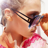 Marlane Style Split Dark Blue and Light Blue Graduated Coloured Sunglasses at Born In The Sun - Borninthesun