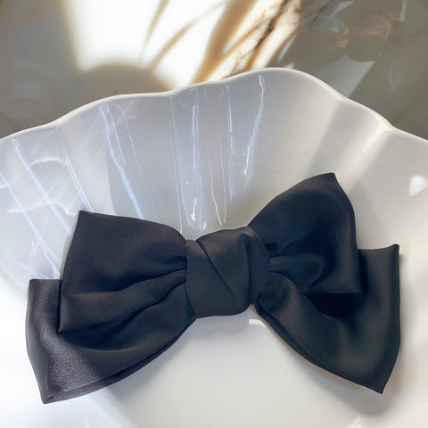 Large Silk Bow in Black with Hair Clip Fastener at Born In The Sun - Borninthesun