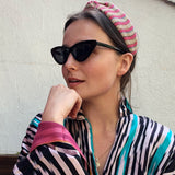 Woven Knotted pink stripes Headband at Born In The Sun - Borninthesun