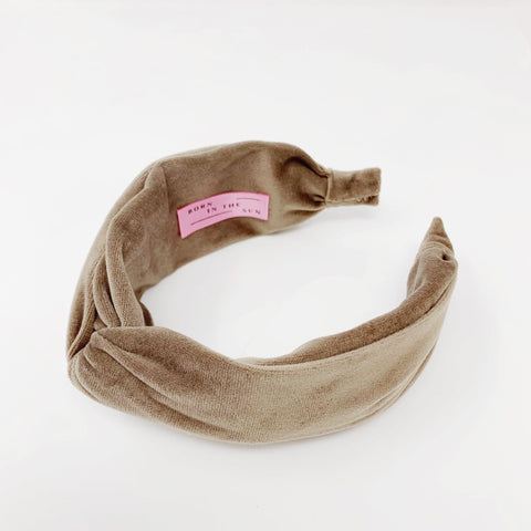 Velvet Taupe Grey Headband at Born In The Sun - Borninthesun