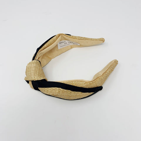 Raffia Straw Beige Sand Colour with a Black Grosgrain Ribbon running through Headband at Born In The Sun
