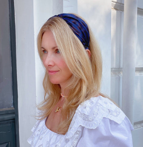 Silk Navy blue and Black Leopard Print Classic Shape Signature Headband at Born In The Sun