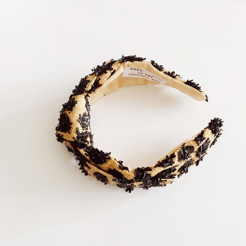 Raffia Straw Beige Sand and Black Pom Pom Headband - Borninthesun