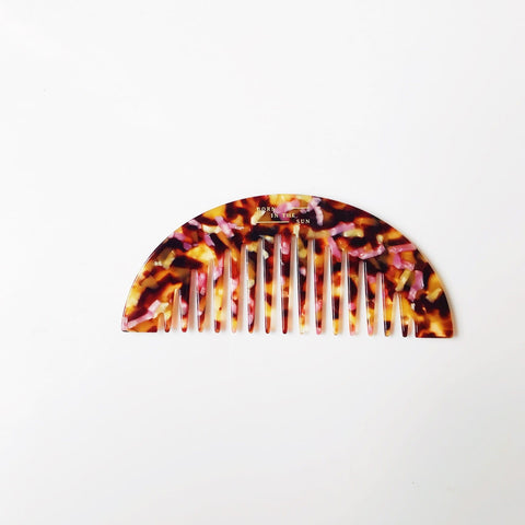 Half Moon Shaped Comb in mixed Tortoiseshell Colours at Born In The Sun - Borninthesun