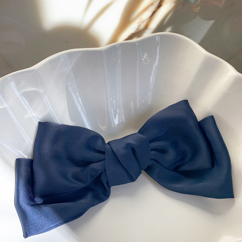 Large Silk Bow in Navy with Hair Clip Fastener at Born In The Sun - Borninthesun
