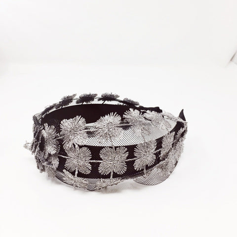 Silver Metallic floral and Net headband