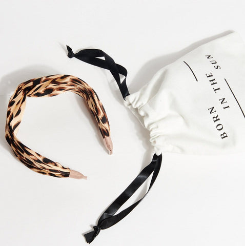 Silk Beige Leopard Classic Signature Shape Headband at Born in The Sun - Borninthesun