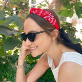 Bandana Red knotted headband at Born In The Sun - Borninthesun